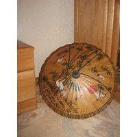 Зонт сувенирный, Тайский,привезенный из Тайланда,расписанный в ручную-СУПЕР!