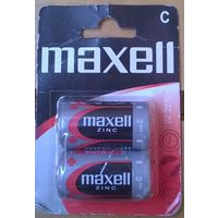 Батарейки C ((цена за 3 штуки)) Maxell Zinc, 1.5V. R14/LR14