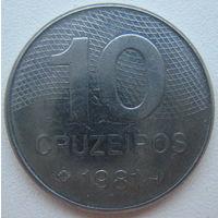 Бразилия 10 крузейро 1981 г.