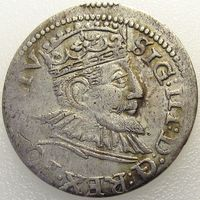 Рижский трояк/ 3 гроша/ трехгрошовик/ 3 Grossus 1594 года, м.д. Рига, Жигимонт III