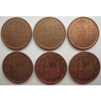 Испания 2 евроцента 2000, 2001, 2004, 2005, 2006, 2007 гг. Цена за 1 шт.
