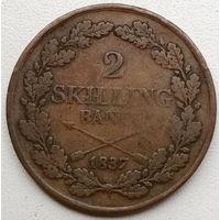 Швеция 2 скиллинг 1837