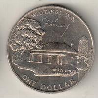 Новая Зеландия 1 доллар 1977 25 лет правления Королевы Елизаветы II и День Вайтанги