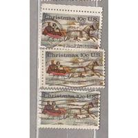 Рождество  3 марки: с перфорацией верхним и правым боковым полем США 1974 год лот 1063 можно раздельно