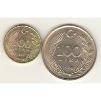 Пара: 100 лир 1988 (KM#966 и KM#968).