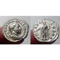 Римская Империя, Александр Север, 223 год, ранний, денарий, со богом Юпитером на реверсе