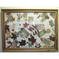 Картина из листьев и денег.
