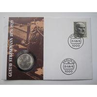 Германия, 5 марок, 1978,  монета-письмо, серебро