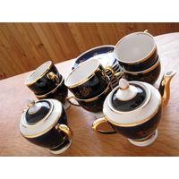 Сервиз фарфоровый чайный из СССР (кобальт, позолота)