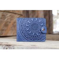 Маленький синий кожаный кошелек Этно