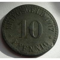 Германия. 10 пфеннигов 1917г.CASSEL. Цинк