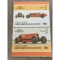 Остров Юнион. Автомобили мира. Fiat Mephistopheles 1924. Марка из серии