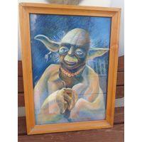 Старая картина сухой пастелью,авторская работа, МАГИСТР ЙОДА-ЗВЕЗДНЫЕ ВОЙНЫ.