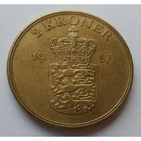 """Дания 2 кроны 1957 """"Король Фредерик IX (1899-1972)"""""""