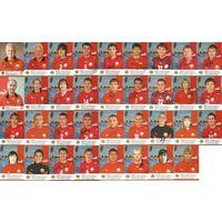 Лот больших карточек(35шт.) с живыми автографами игроков и тренеров Национальной сборной Беларусь.2008г.
