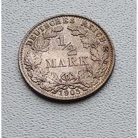 """Германия 1/2 марки, 1905 """"E"""" - Мульденхюттен 7-10-9"""