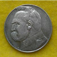 10 злотых 1937 г Пилсудский Серебро Сохран