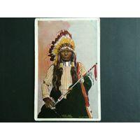Редкая почтовая карточка США. Индеец. Этнография. Тиснение.1906г. Оригинал.