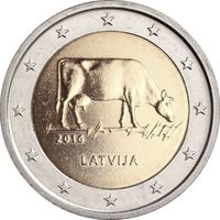 2 евро 2016 Латвия Корова UNC из ролла