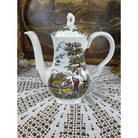 Фарфоровый чайник  заварник со сценами Английской охоты клейма