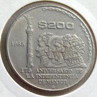 Мексика, 200 песо 1985 года, 175-летие независимости Мексики от Испании, KM#509