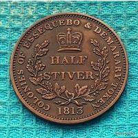 """Колония Нидерланд """"Голландскую Гвиана"""". Гвиана-Суринам 1/2 стивера 1813 года. Король Георг III. Состояние! RRRR"""