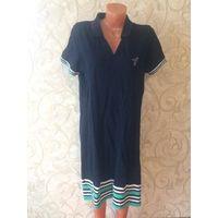 Платье поло синего цвета на 54 размер. Плотная ткань, стильная модель. Носила немного, хорошее состояние. Длина 103 см, ПОгруди 56 см в нерастянутом состоянии, ПОталии 54 см.