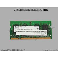 Два модуля памяти для ноутбуков на 256 Мб. DDR2-533 SODIMM. 2 x 256 1Rx16 PC2-4200S-444-11-C0.