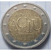 Литва 2 евро, 2015 Литовский язык           ( 6-7-3 )