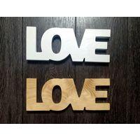Слово LOVE из массива дерева (сосна)