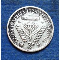Южная Африка Британский доминион 3 пенса 1934 Георг V