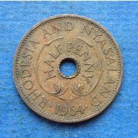 Родезия и Ньясаленд Британская колония 1/2 пенни 1964
