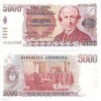 Аргентина 5000 песо образца 1984-1985 года UNC p318