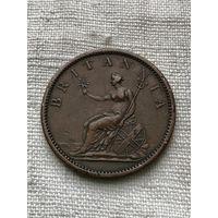 Австралия (Мельбурн) 1 пенни,  1849 г.(без написания даты) , редкая, большая монета