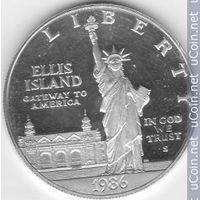 Памятный 1$ USA--100лет Ст.Свободы. Серебро 900проба