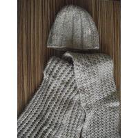 Теплый комплект - шапочка и шарф из мягкой толстой пряжи