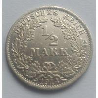 Германия (империя), 1/2 марки 1914 год, серебро, А
