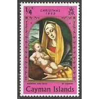 Кайманы. Рождество. Живопись Б.Виварини. 1969г. Mi#241.