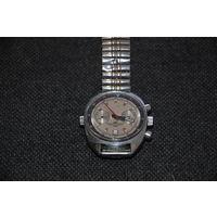 Штурманский хронометр с кнопкой установки часовых поясов.Под серебро.Довольно редкий.