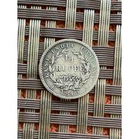 Британская Индия 1/4 рупии 1840 г.