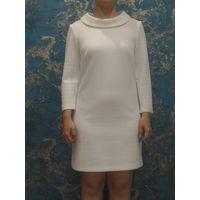 Белое теплое стеганое платье