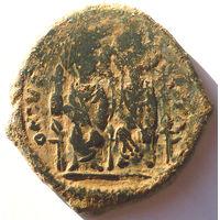 ВИЗАНТИЯ. ЮСТИН II И СОФИЯ (565-578). АЕ ФОЛЛИС. 573 год.
