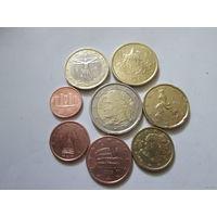 Полный ГОДОВОЙ набор евро монет Италия 2002 г. (1, 2, 5, 10, 20, 50 евроцентов, 1, 2 евро)