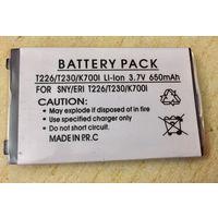 Новый аккумулятор 650 maH 3.7В. Sony Ericsson T226, T230, T220, T238, K700, K700c, K700i. Литий-ионный. Батарея АКБ. 650maH маЧ, 3.7 V В