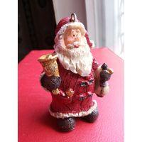 Статуэтка , ёлочная игрушка Дед Мороз, Санта Клаус. Полистоун. Высота 8 см.