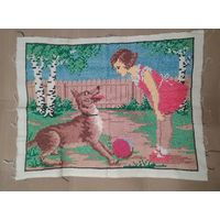 Вышивка старинная Девочка с собакой 55/40 см