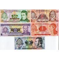 Гондурас набор 5 шт. 1 2 5 10 20 лемпира случайный год p 89 90 91 92 93 unc