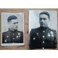 Два фото военного с наградами. 1945 г. 10.5х15 см. 8х12 см. Цена за оба.
