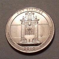 25 центов, квотер США, нац. парк Хот Спрингс, штат Арканзас, D