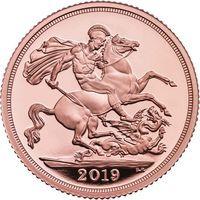 """Великобритания 2019 """"Соверен"""" Пьедфорт. Монета в капсуле; деревянном подарочном футляре; номерной сертификат; коробка. ЗОЛОТО 15,97гр."""
